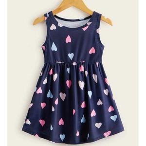 NWOT-Girls Heart Print Sleeveless Dress